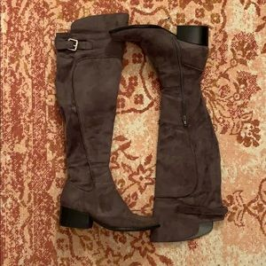 Grey suede Guess above the knee boots
